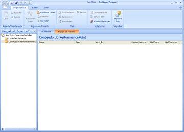 PerformancePoint Dashboard Designer, onde você pode criar, editar e publicar conteúdo de painel