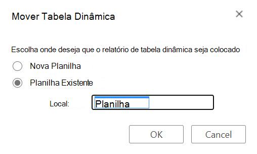 A caixa de diálogo mover tabela dinâmica do Excel para a Web.