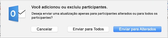 Você adicionou ou excluiu participantes.