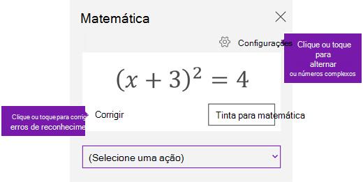 Uma equação no painel de tarefas de matemática
