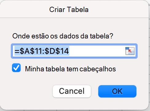 Caixa de diálogo Criar Tabela com os headers selecionados no Excel para Mac.