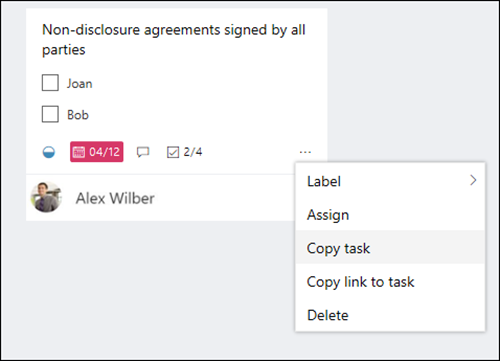 Captura de tela: mostrando o menu mais aberto de uma tarefa no quadro do Planner.