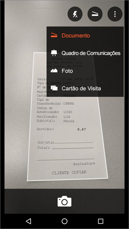 Captura de tela sobre como capturar uma imagem no Office Lens para Android.