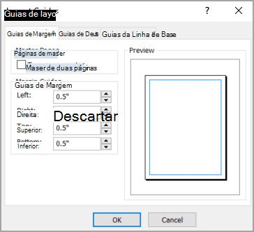 Caixa de diálogo Guias de Layout