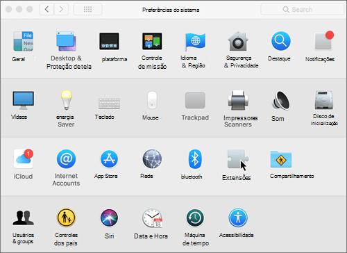 Captura de tela das preferências de sistema em um Mac