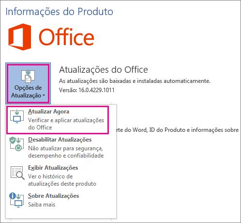 Verificando manualmente atualizações do Office no Word 2016