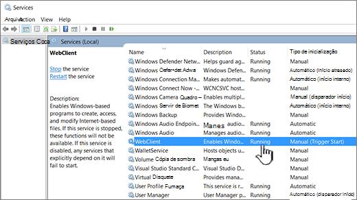 Caixa de diálogo serviços do Windows com webClient realçado