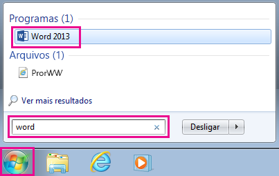 Localizar os aplicativos do Office no Windows 7