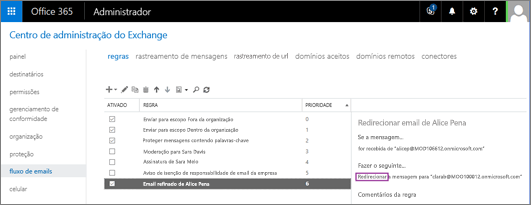 A captura de tela mostra a página Regras da área de fluxo de email no Centro de administração do Exchange. A caixa de seleção Ativada está marcada para a Regra para redirecionar o email da usuária Alice Pena.