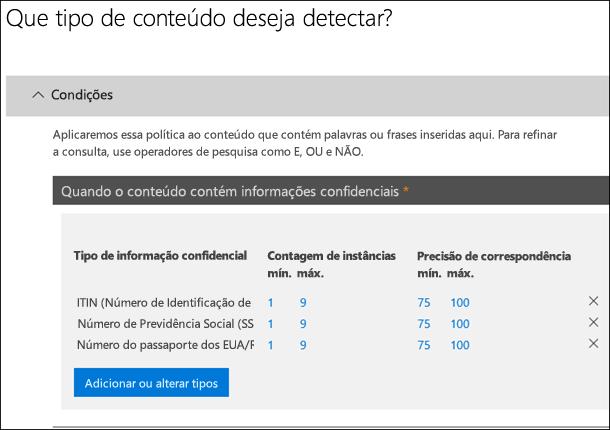 Opções para identificar tipos de informações confidenciais