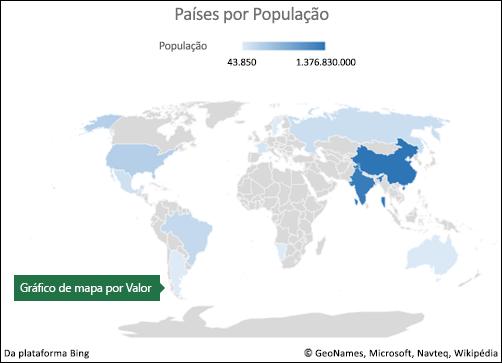 Gráfico de mapa do Excel com dados por valor