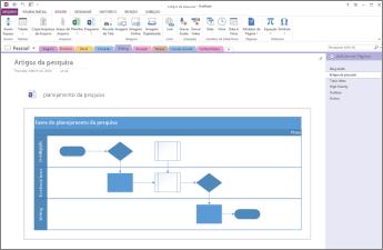 Visão geral de um diagrama inserido em uma página