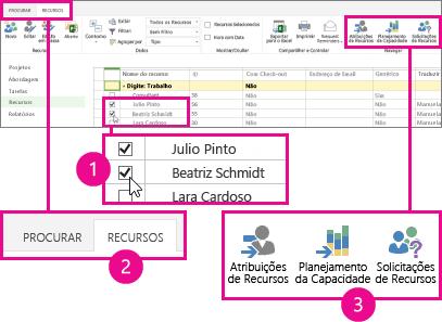 Escolha Planejamento de Capacidade na guia Recursos