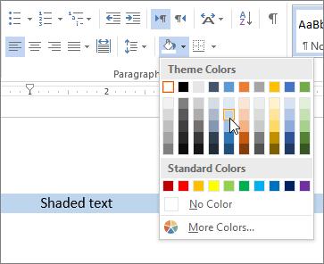 Aplicar cor sombreamento ao texto