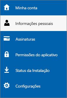 Atualizar suas informações pessoais do administrador