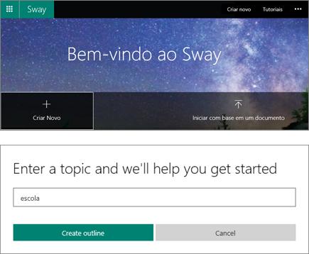 Captura de tela composta da tela Bem-vindo ao Sway e do painel de entrada do tópico QuickStarter.