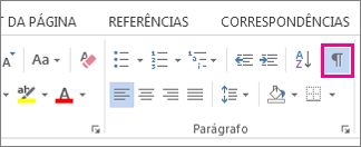 O comando Mostrar/Ocultar na guia Página Inicial do Word 2013.