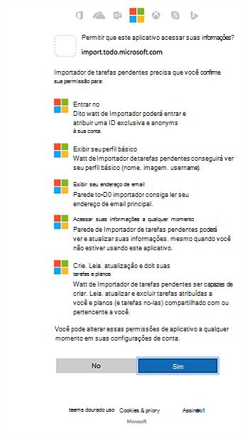 Permissões de Importador de mostrando de captura de tela