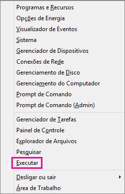 Comando Executar após clicar com o botão direito do mouse em Iniciar no Windows 8 e no Windows 10
