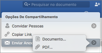 Selecione o formato para o documento a enviar, documento do Word ou PDF.