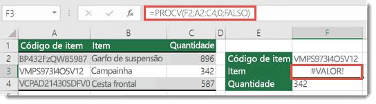 O erro #VALOR! é exibido quando o argumento_índice_col for menor que 1
