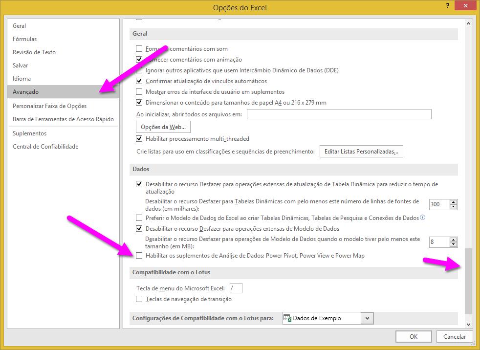 A janela de opções do Excel