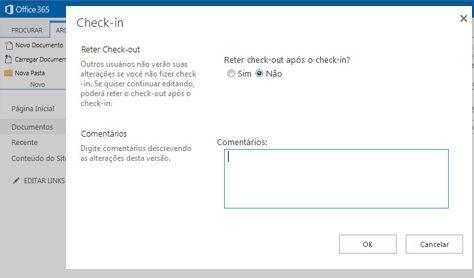 Caixa de diálogo Fazer Check-in