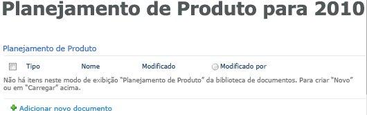 Biblioteca de planejamento de produto na página