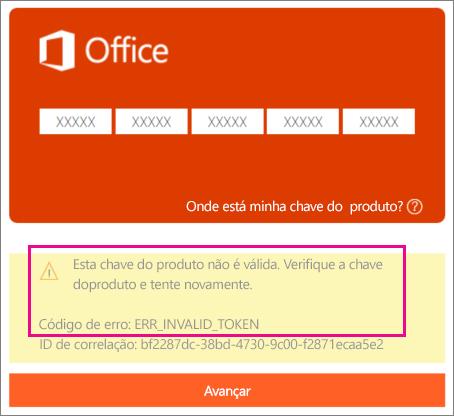 Código de erro exibido ao inserir uma chave de produto incorreta na página http://office.com/setup.