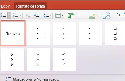 Captura de tela de estilos de marcadores disponíveis quando você seleciona a seta no botão Marcadores