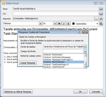 Você pode usar as opções na caixa de diálogo Procurar cadeia de caracteres para fornecer conteúdo dinâmico para uma notificação de tarefa