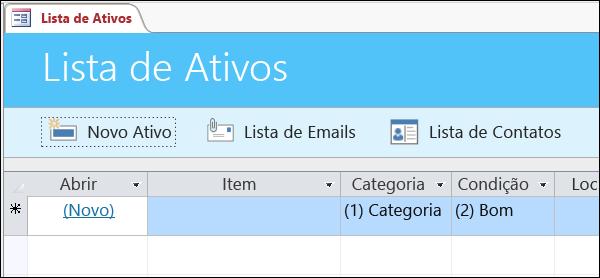 Formulário de lista de ativos no modelo de banco de dados Ativo do Access