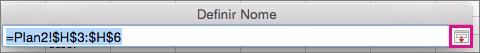Um nome definido mostrado na lista Preenchimento Automático