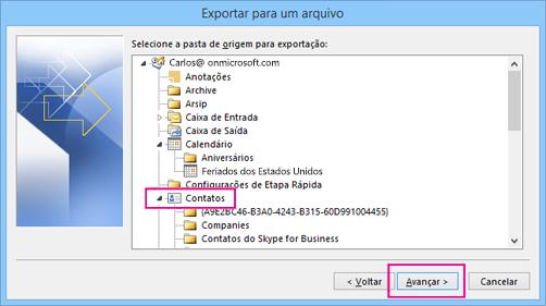 Role para cima e escolha a pasta de contatos que você deseja exportar.