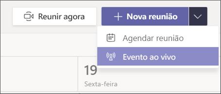 novo botão de evento de reunião ao vivo