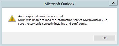 A mensagem de erro informando que MAPI não pôde carregar a DLL do serviço de informações.