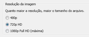 Captura de tela das opções de gravação
