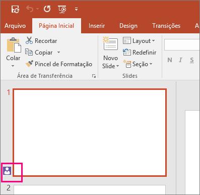 Mostra o ícone indicando que outra pessoa está colaborando em um slide no PowerPoint 2016