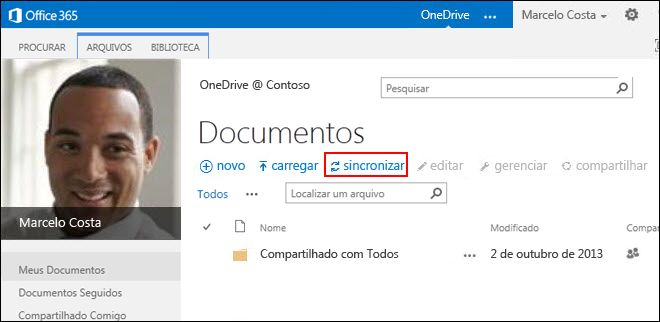 Biblioteca do OneDrive for Business no Office 365