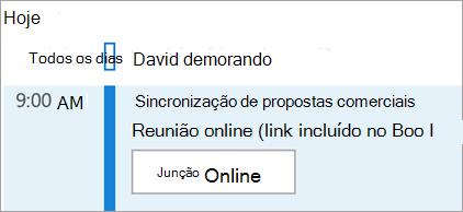Exibe o botão Participar on-line das reuniões