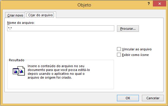 Criar a partir da guia arquivo na caixa de diálogo objeto