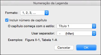 Adicionar números de capítulo automaticamente para as legendas no Word