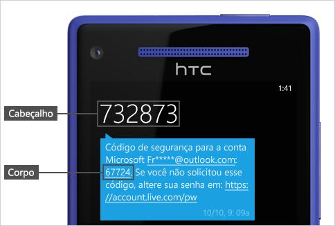 Mensagem de texto com código.