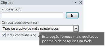 Ativar a opção Incluir Conteúdo do Bing oferece mais resultados de pesquisa para sua escolha.