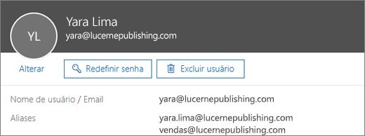Esse usuário possui um endereço principal e um alias.