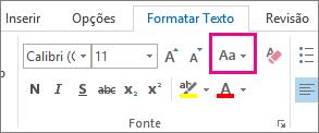 Botão de alterar maiúsculas e minúsculas na guia Formatar Texto