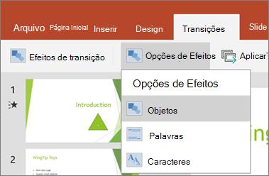 Mostra as transições > menu de opções de efeito no PowerPoint para Android.