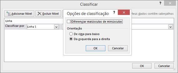 Na caixa Opções de Classificação, clique em Esquerda para a Direita
