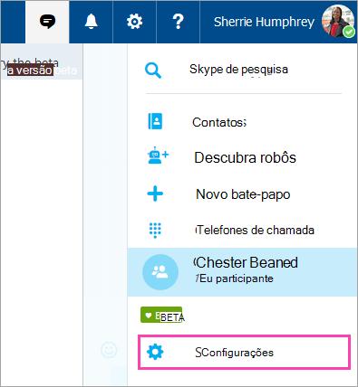 Uma captura de tela do botão configurações no menu do Skype