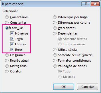 Opções para encontrar fórmulas na caixa Ir para Especial